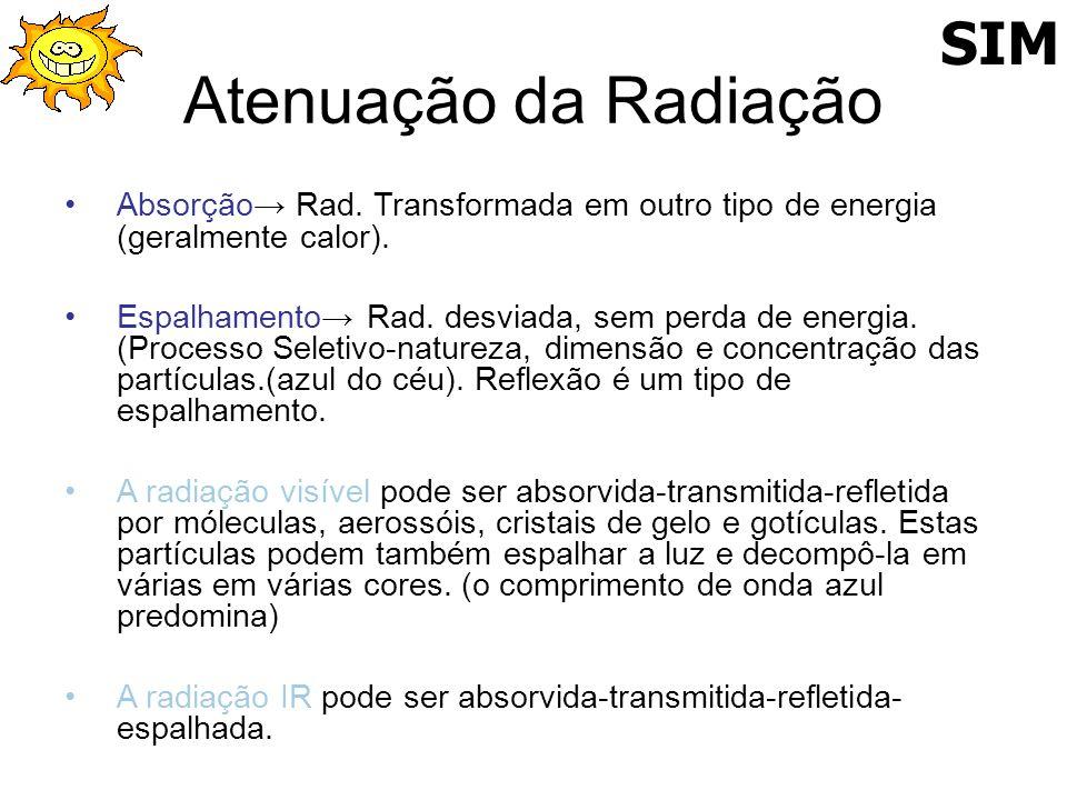 Atenuação da Radiação Absorção Rad. Transformada em outro tipo de energia (geralmente calor). Espalhamento Rad. desviada, sem perda de energia. (Proce