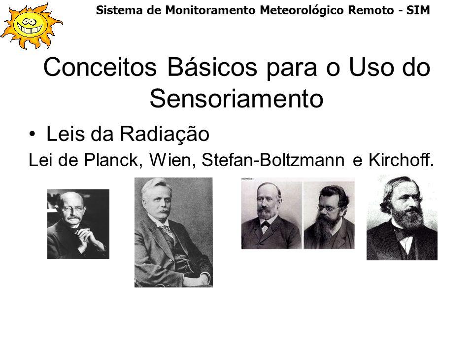 Conceitos Básicos para o Uso do Sensoriamento Leis da Radiação Lei de Planck, Wien, Stefan-Boltzmann e Kirchoff. Sistema de Monitoramento Meteorológic
