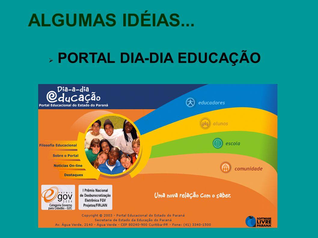 ALGUMAS IDÉIAS... PORTAL DIA-DIA EDUCAÇÃO