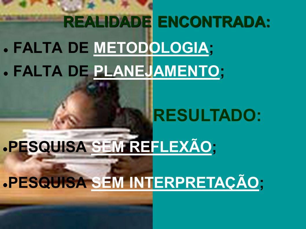 REALIDADE ENCONTRADA: FALTA DE METODOLOGIA; FALTA DE PLANEJAMENTO; RESULTADO: PESQUISA SEM REFLEXÃO; PESQUISA SEM INTERPRETAÇÃO;