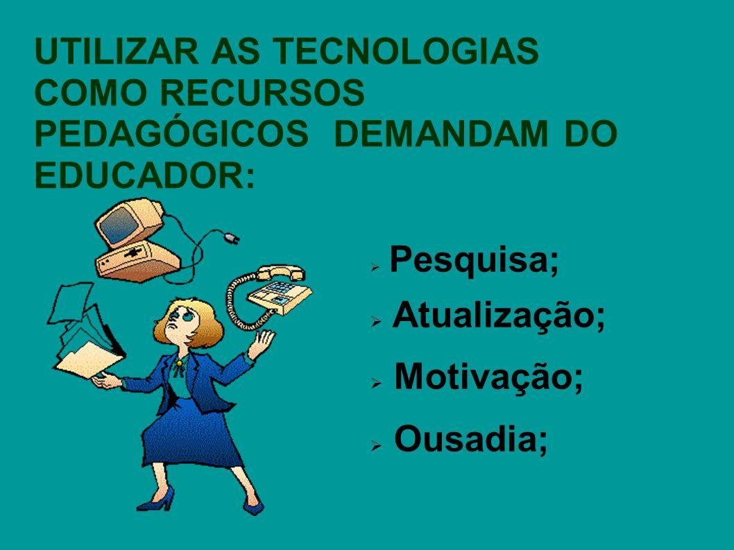 Pesquisa; Atualização; Motivação; Ousadia; UTILIZAR AS TECNOLOGIAS COMO RECURSOS PEDAGÓGICOS DEMANDAM DO EDUCADOR: