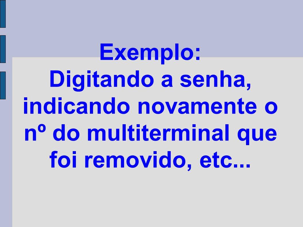 Exemplo: Digitando a senha, indicando novamente o nº do multiterminal que foi removido, etc...