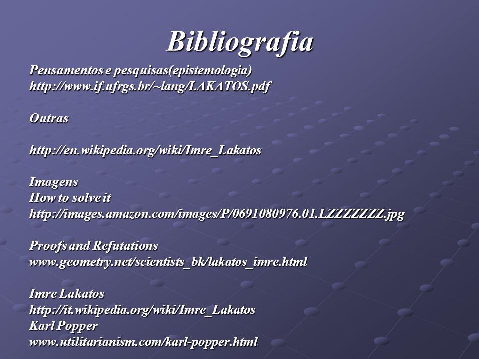 Bibliografia Pensamentos e pesquisas(epistemologia) http://www.if.ufrgs.br/~lang/LAKATOS.pdfOutrashttp://en.wikipedia.org/wiki/Imre_LakatosImagens How