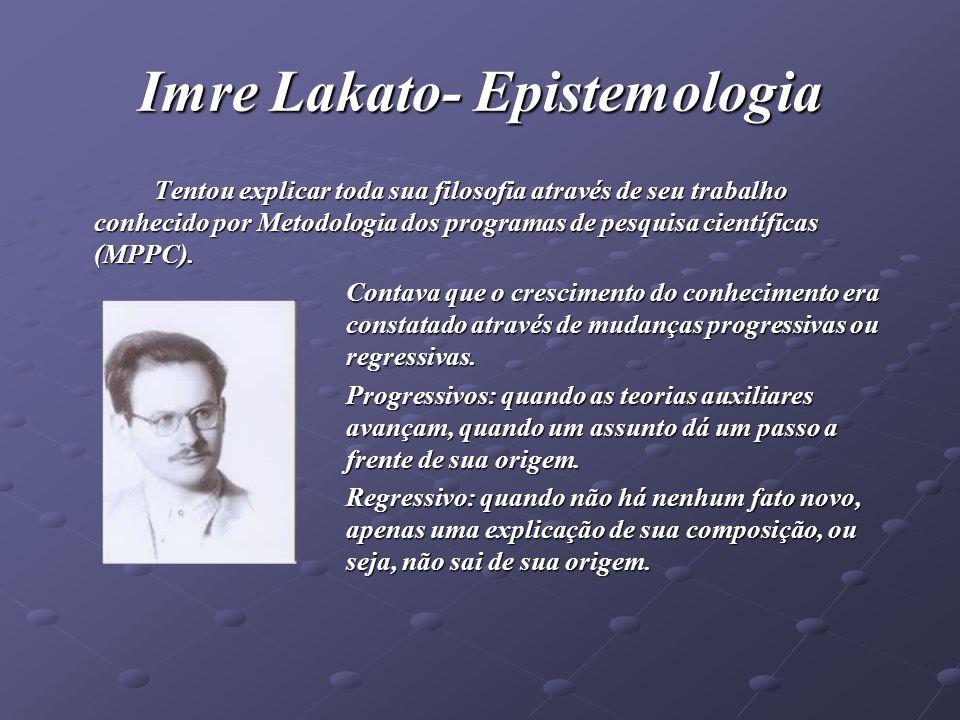 Imre Lakato- Epistemologia Tentou explicar toda sua filosofia através de seu trabalho conhecido por Metodologia dos programas de pesquisa científicas