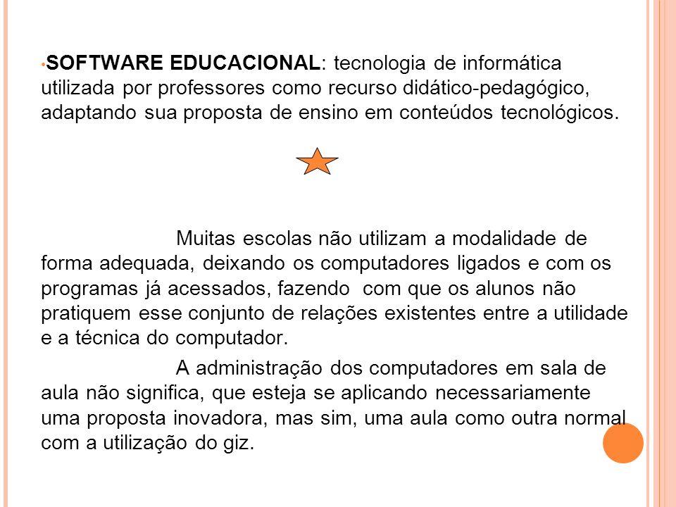 SOFTWARE EDUCACIONAL: tecnologia de informática utilizada por professores como recurso didático-pedagógico, adaptando sua proposta de ensino em conteú
