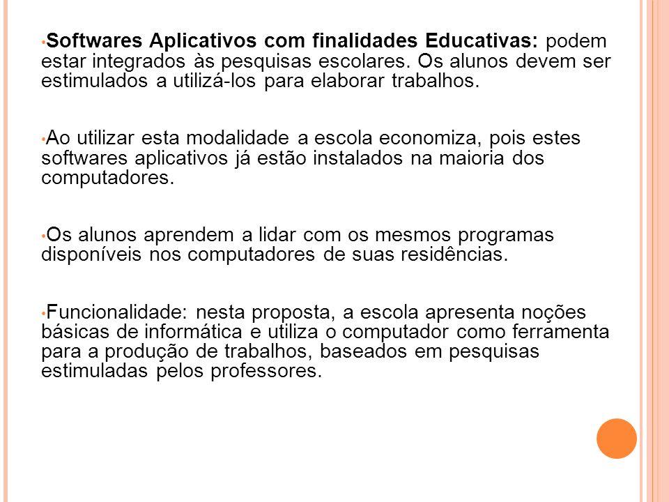 Softwares Aplicativos com finalidades Educativas: podem estar integrados às pesquisas escolares. Os alunos devem ser estimulados a utilizá-los para el