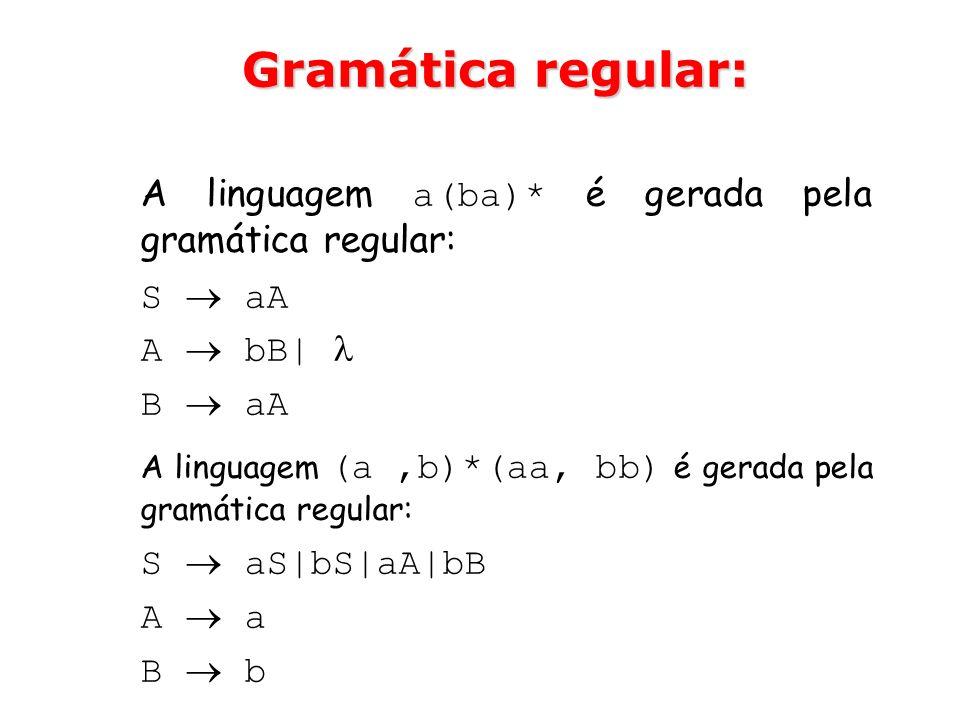Gramática regular: A linguagem a(ba)* é gerada pela gramática regular: S aA A bB| B aA A linguagem (a,b)*(aa, bb) é gerada pela gramática regular: S a
