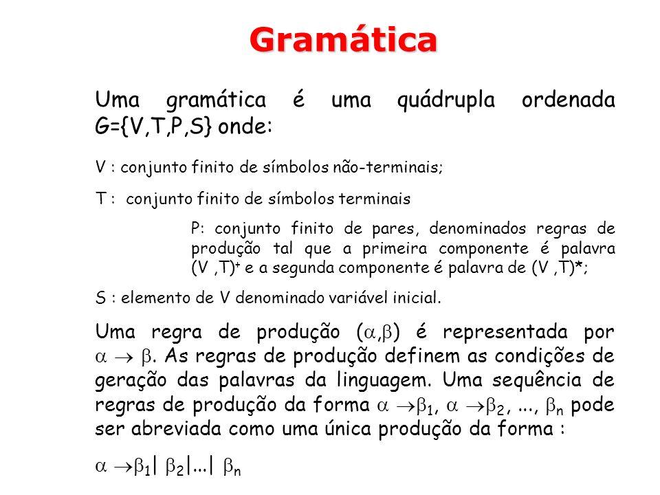 Uma gramática é uma quádrupla ordenada G={V,T,P,S} onde: V : conjunto finito de símbolos não-terminais; T : conjunto finito de símbolos terminais P: c