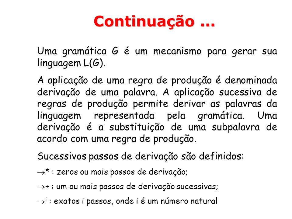 Uma gramática G é um mecanismo para gerar sua linguagem L(G). A aplicação de uma regra de produção é denominada derivação de uma palavra. A aplicação