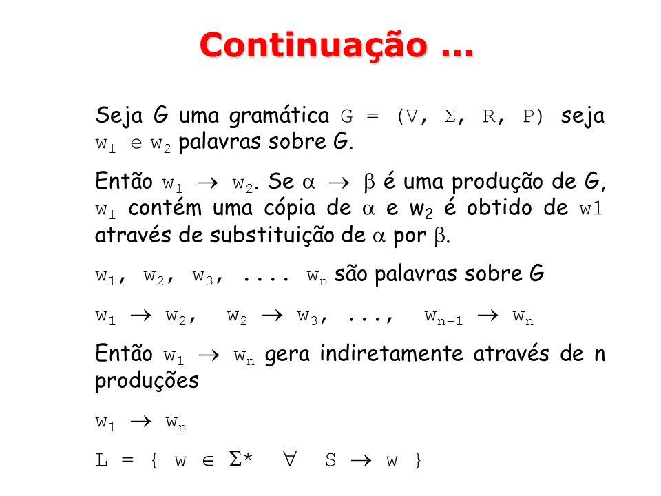 Seja G uma gramática G = (V,, R, P) seja w 1 e w 2 palavras sobre G. Então w 1 w 2. Se é uma produção de G, w 1 contém uma cópia de e w 2 é obtido de