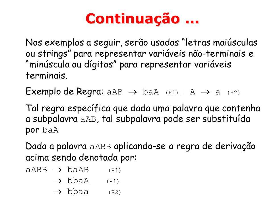 Nos exemplos a seguir, serão usadas letras maiúsculas ou strings para representar variáveis não-terminais e minúscula ou dígitos para representar vari