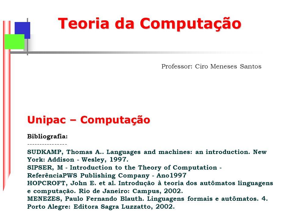 Teoria da Computação Professor: Ciro Meneses Santos Unipac – Computação Bibliografia: ---------------- SUDKAMP, Thomas A..