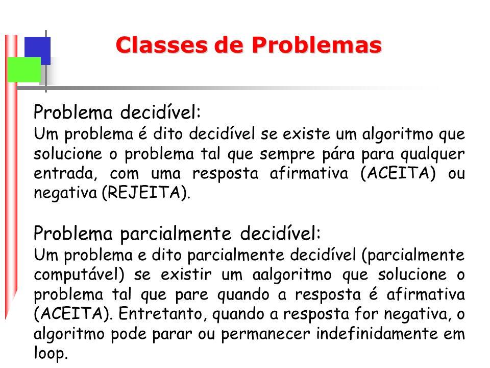 Classes de Problemas Problema decidível: Um problema é dito decidível se existe um algoritmo que solucione o problema tal que sempre pára para qualquer entrada, com uma resposta afirmativa (ACEITA) ou negativa (REJEITA).