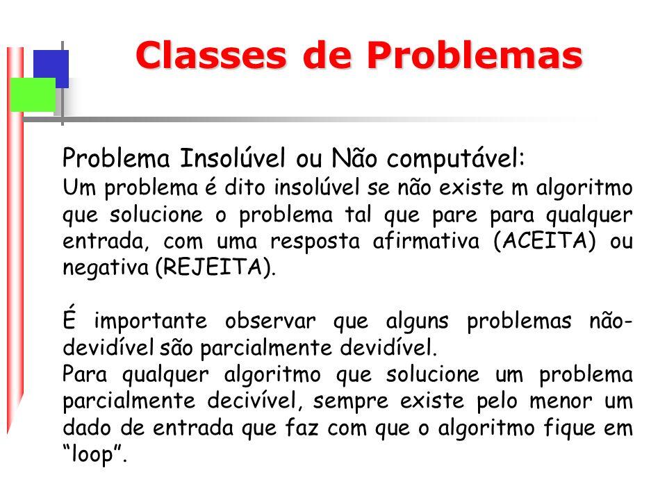 Classes de Problemas Problema Insolúvel ou Não computável: Um problema é dito insolúvel se não existe m algoritmo que solucione o problema tal que pare para qualquer entrada, com uma resposta afirmativa (ACEITA) ou negativa (REJEITA).