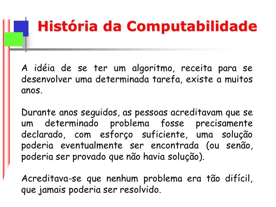 História da Computabilidade A idéia de se ter um algoritmo, receita para se desenvolver uma determinada tarefa, existe a muitos anos.