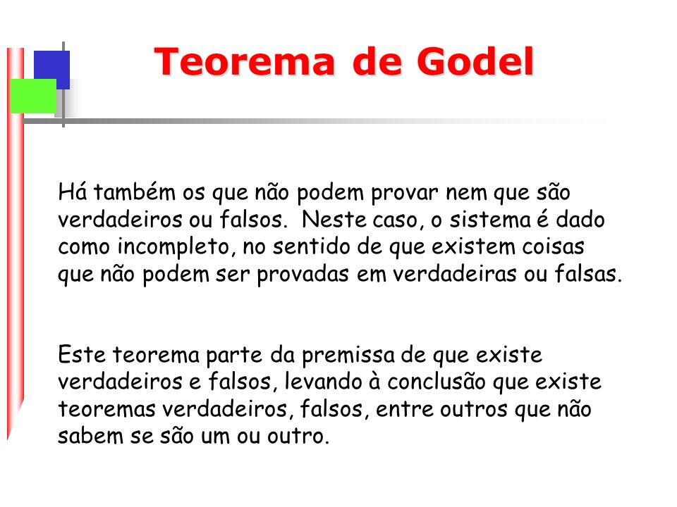 Teorema de Godel Há também os que não podem provar nem que são verdadeiros ou falsos.
