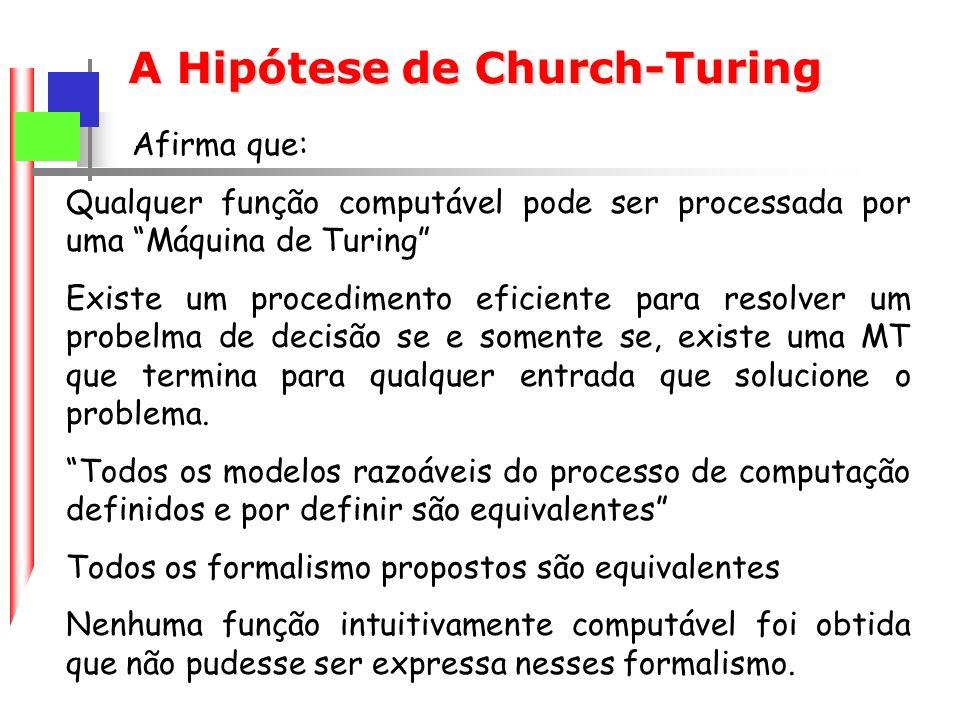 A Hipótese de Church-Turing Afirma que: Qualquer função computável pode ser processada por uma Máquina de Turing Existe um procedimento eficiente para resolver um probelma de decisão se e somente se, existe uma MT que termina para qualquer entrada que solucione o problema.