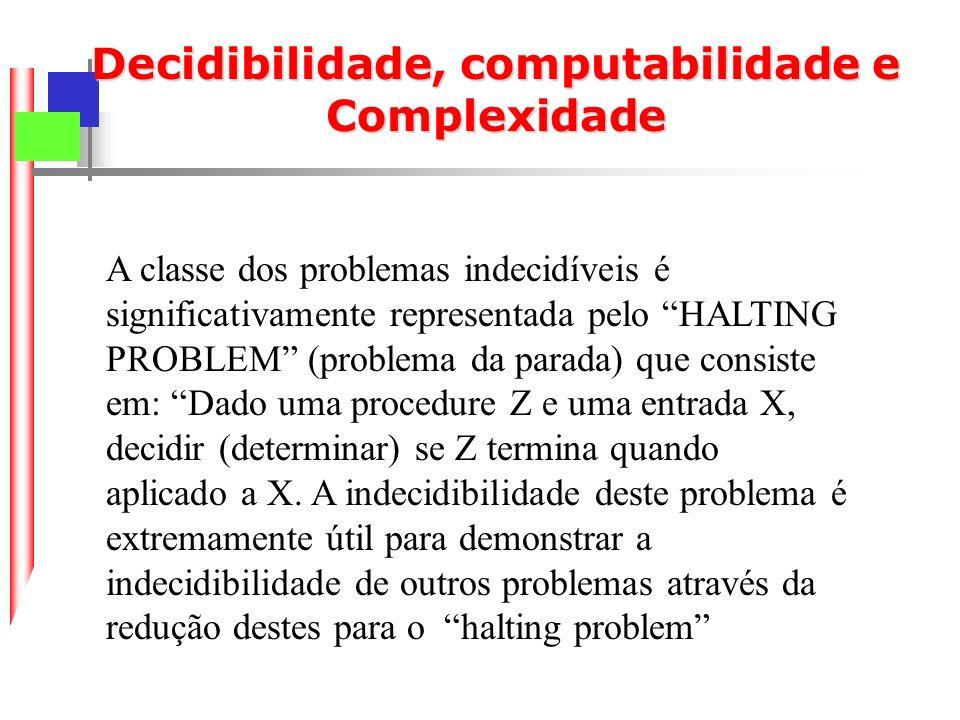 Redução de Problemas: Redutibilidade: Um problema de decisão em P é redutível a um problema em P se existe uma MT que para qualquer p i P gera um outro problema p i P.