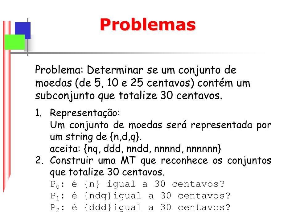 Problemas Problema: Determinar se um conjunto de moedas (de 5, 10 e 25 centavos) contém um subconjunto que totalize 30 centavos.
