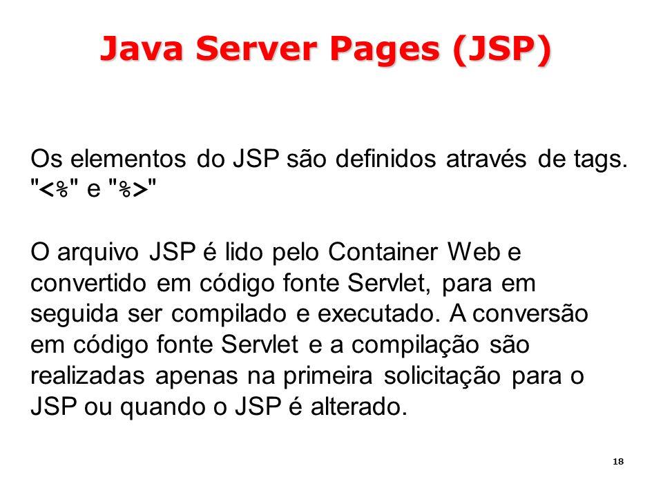 18 Java Server Pages (JSP) Os elementos do JSP são definidos através de tags.