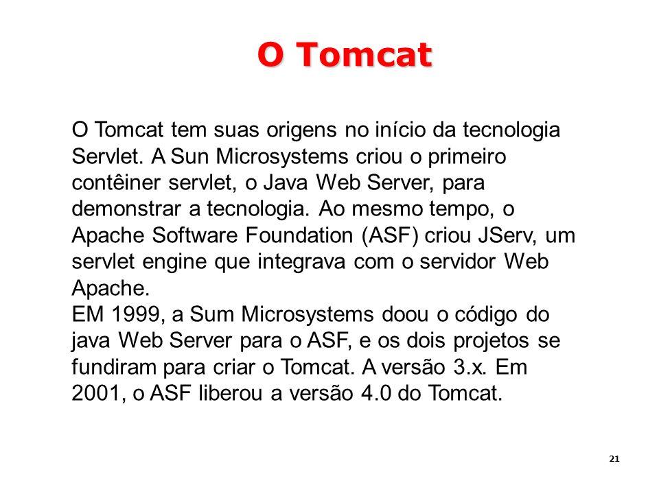 21 O Tomcat O Tomcat tem suas origens no início da tecnologia Servlet. A Sun Microsystems criou o primeiro contêiner servlet, o Java Web Server, para