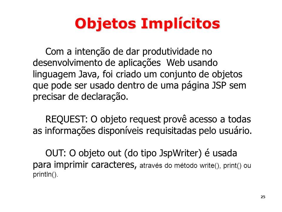 25 Objetos Implícitos Com a intenção de dar produtividade no desenvolvimento de aplicações Web usando linguagem Java, foi criado um conjunto de objeto