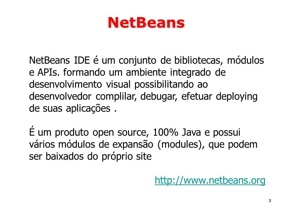 3 NetBeans NetBeans IDE é um conjunto de bibliotecas, módulos e APIs. formando um ambiente integrado de desenvolvimento visual possibilitando ao desen