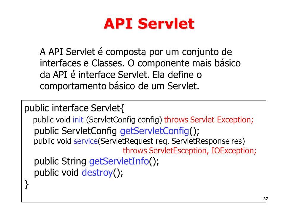 37 API Servlet A API Servlet é composta por um conjunto de interfaces e Classes. O componente mais básico da API é interface Servlet. Ela define o com