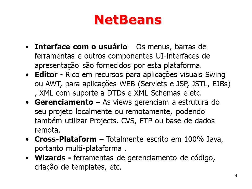 4 NetBeans Interface com o usuário – Os menus, barras de ferramentas e outros componentes UI-interfaces de apresentação são fornecidos por esta plataf