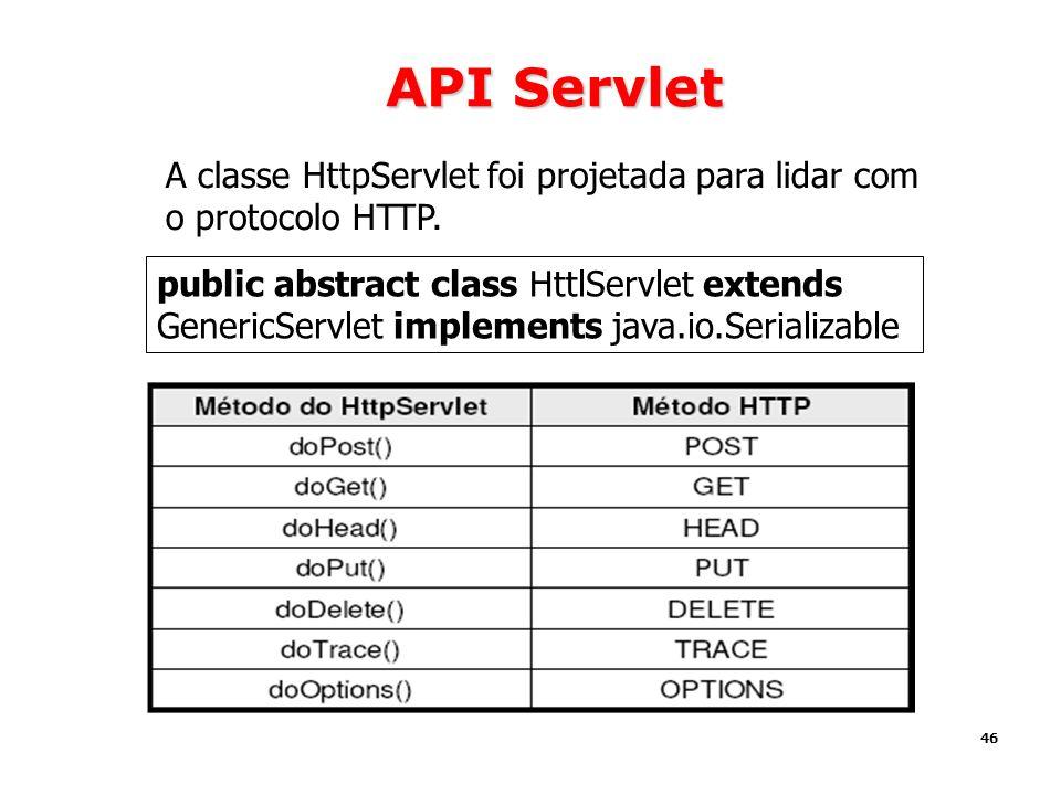 46 API Servlet A classe HttpServlet foi projetada para lidar com o protocolo HTTP. public abstract class HttlServlet extends GenericServlet implements