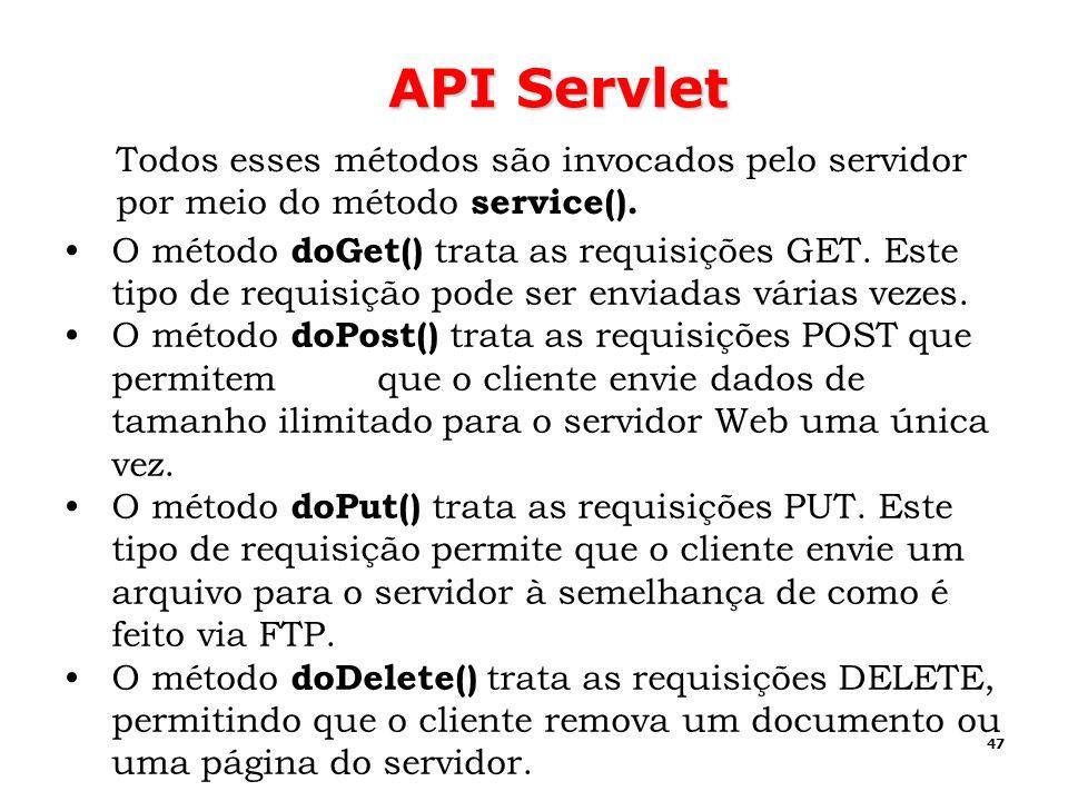 47 API Servlet O método doGet() trata as requisições GET. Este tipo de requisição pode ser enviadas várias vezes. O método doPost() trata as requisiçõ