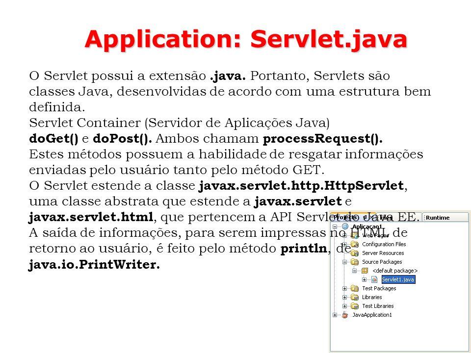 55 Application: Servlet.java O Servlet possui a extensão.java. Portanto, Servlets são classes Java, desenvolvidas de acordo com uma estrutura bem defi