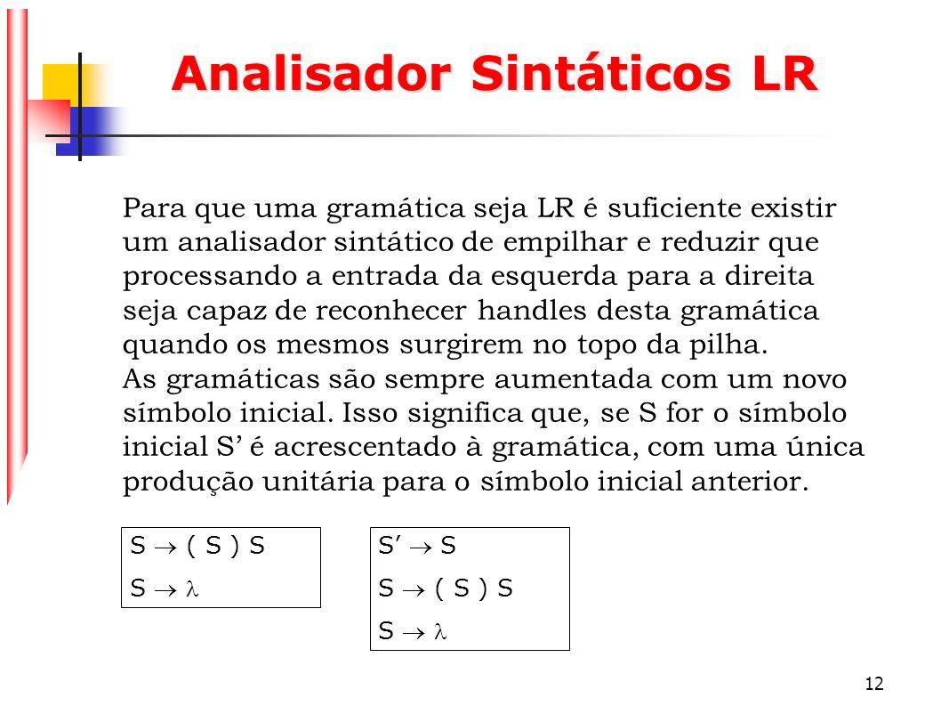 12 Analisador Sintáticos LR Para que uma gramática seja LR é suficiente existir um analisador sintático de empilhar e reduzir que processando a entrad