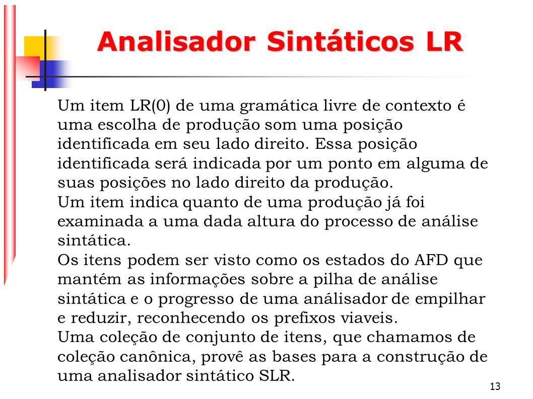 13 Analisador Sintáticos LR Um item LR(0) de uma gramática livre de contexto é uma escolha de produção som uma posição identificada em seu lado direit