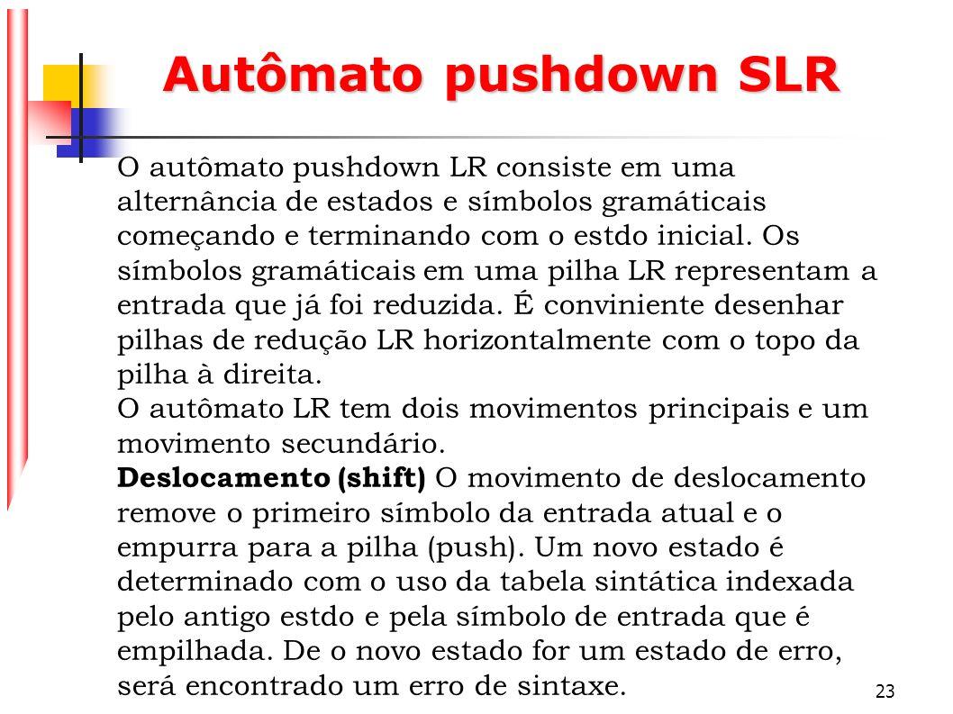 23 Autômato pushdown SLR O autômato pushdown LR consiste em uma alternância de estados e símbolos gramáticais começando e terminando com o estdo inici