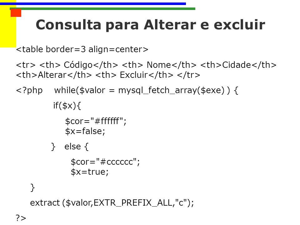 Consulta para Alterar e excluir Código Nome Cidade Alterar Excluir <?php while($valor = mysql_fetch_array($exe) ) { if($x){ $cor= #ffffff ; $x=false; } else { $cor= #cccccc ; $x=true; } extract ($valor,EXTR_PREFIX_ALL, c ); ?>