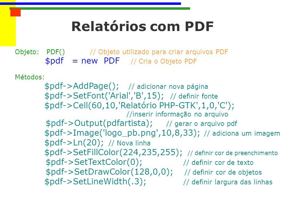 Objeto: PDF() // Objeto utilizado para criar arquivos PDF $pdf = new PDF // Cria o Objeto PDF Métodos: $pdf->AddPage(); // adicionar nova página $pdf->SetFont( Arial , B ,15); // definir fonte $pdf->Cell(60,10, Relatório PHP-GTK ,1,0, C ); //inserir informação no arquivo $pdf->Output(pdfartista); // gerar o arquivo pdf $pdf->Image( logo_pb.png ,10,8,33); // adiciona um imagem $pdf->Ln(20); // Nova linha $pdf->SetFillColor(224,235,255); // definir cor de preenchimento $pdf->SetTextColor(0); // definir cor de texto $pdf->SetDrawColor(128,0,0); // definir cor de objetos $pdf->SetLineWidth(.3); // definir largura das linhas