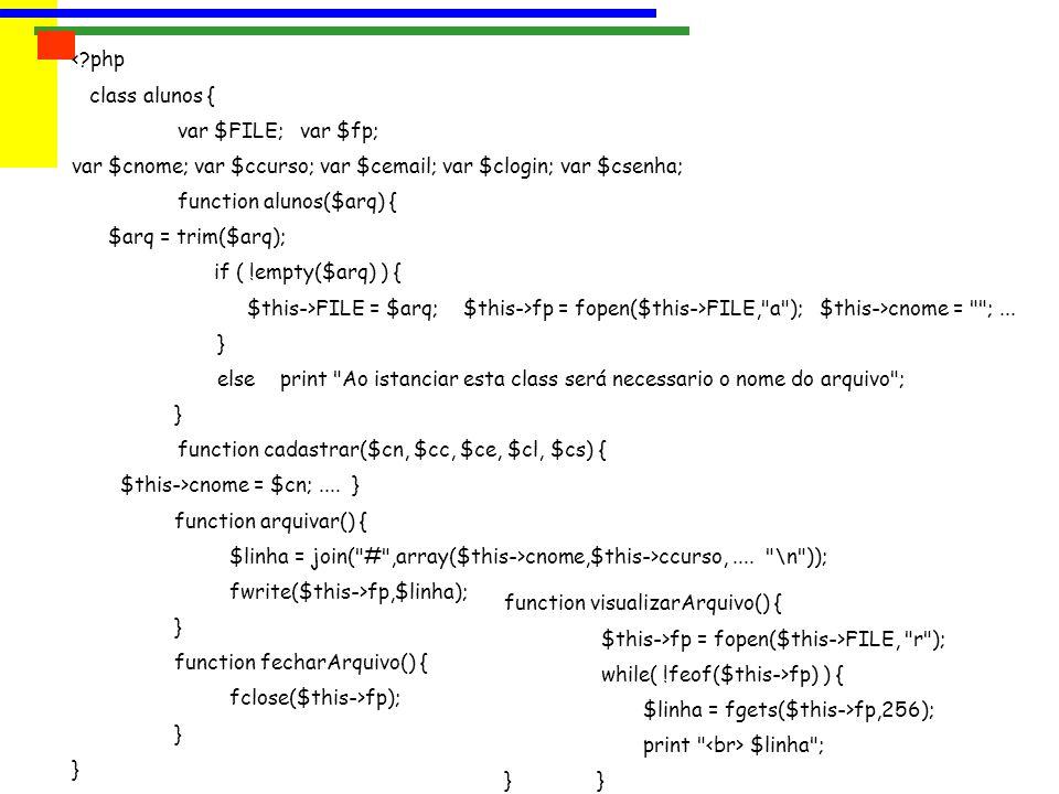 <?php class alunos { var $FILE; var $fp; var $cnome; var $ccurso; var $cemail; var $clogin; var $csenha; function alunos($arq) { $arq = trim($arq); if ( !empty($arq) ) { $this->FILE = $arq; $this->fp = fopen($this->FILE, a ); $this->cnome = ;...