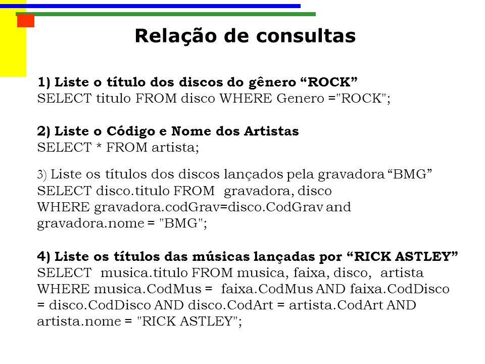 Relação de consultas 1) Liste o título dos discos do gênero ROCK SELECT titulo FROM disco WHERE Genero = ROCK ; 2) Liste o Código e Nome dos Artistas SELECT * FROM artista; 3) Liste os títulos dos discos lançados pela gravadora BMG SELECT disco.titulo FROM gravadora, disco WHERE gravadora.codGrav=disco.CodGrav and gravadora.nome = BMG ; 4) Liste os títulos das músicas lançadas por RICK ASTLEY SELECT musica.titulo FROM musica, faixa, disco, artista WHERE musica.CodMus = faixa.CodMus AND faixa.CodDisco = disco.CodDisco AND disco.CodArt = artista.CodArt AND artista.nome = RICK ASTLEY ;