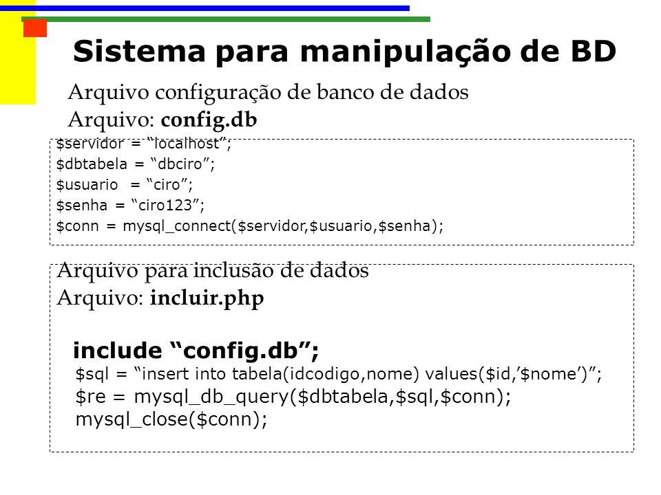 Arquivo configuração de banco de dados Arquivo: config.db $servidor = localhost; $dbtabela = dbciro; $usuario = ciro; $senha = ciro123; $conn = mysql_connect($servidor,$usuario,$senha); Arquivo para inclusão de dados Arquivo: incluir.php include config.db; $sql = insert into tabela(idcodigo,nome) values($id,$nome); $re = mysql_db_query($dbtabela,$sql,$conn); mysql_close($conn); Sistema para manipulação de BD