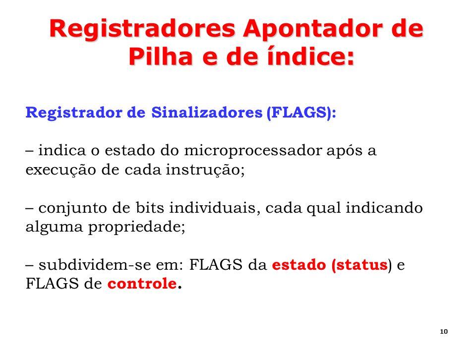 10 Registradores Apontador de Pilha e de índice: Registrador de Sinalizadores (FLAGS): – indica o estado do microprocessador após a execução de cada i