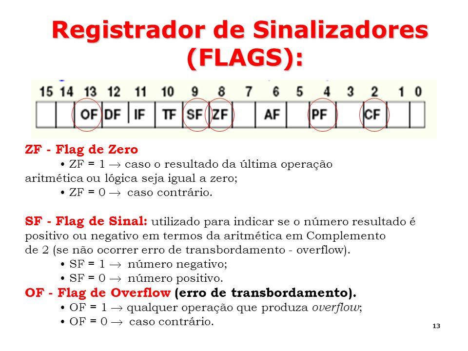 13 Registrador de Sinalizadores (FLAGS): ZF - Flag de Zero ZF = 1 caso o resultado da última operação aritmética ou lógica seja igual a zero; ZF = 0 c