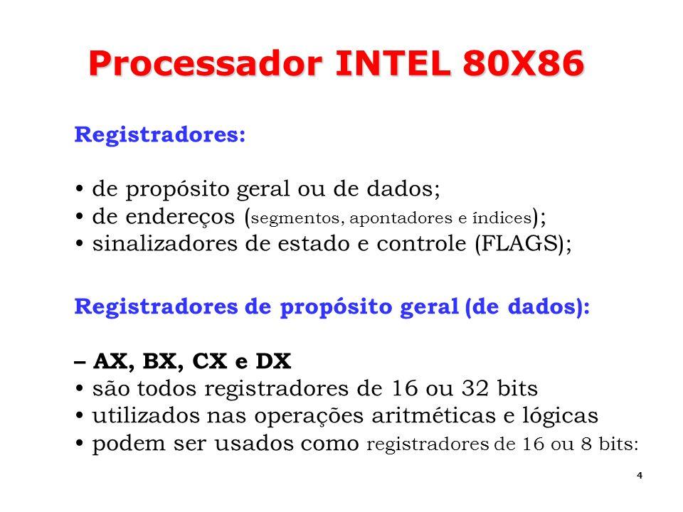 4 Processador INTEL 80X86 Registradores: de propósito geral ou de dados; de endereços ( segmentos, apontadores e índices ); sinalizadores de estado e
