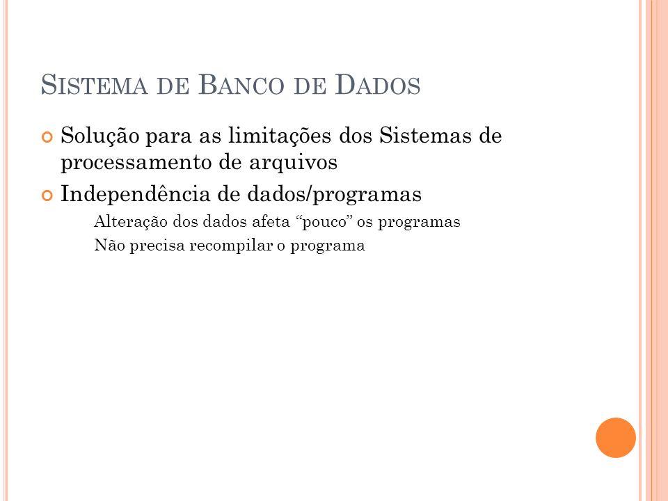 S ISTEMA DE B ANCO DE D ADOS Solução para as limitações dos Sistemas de processamento de arquivos Independência de dados/programas Alteração dos dados