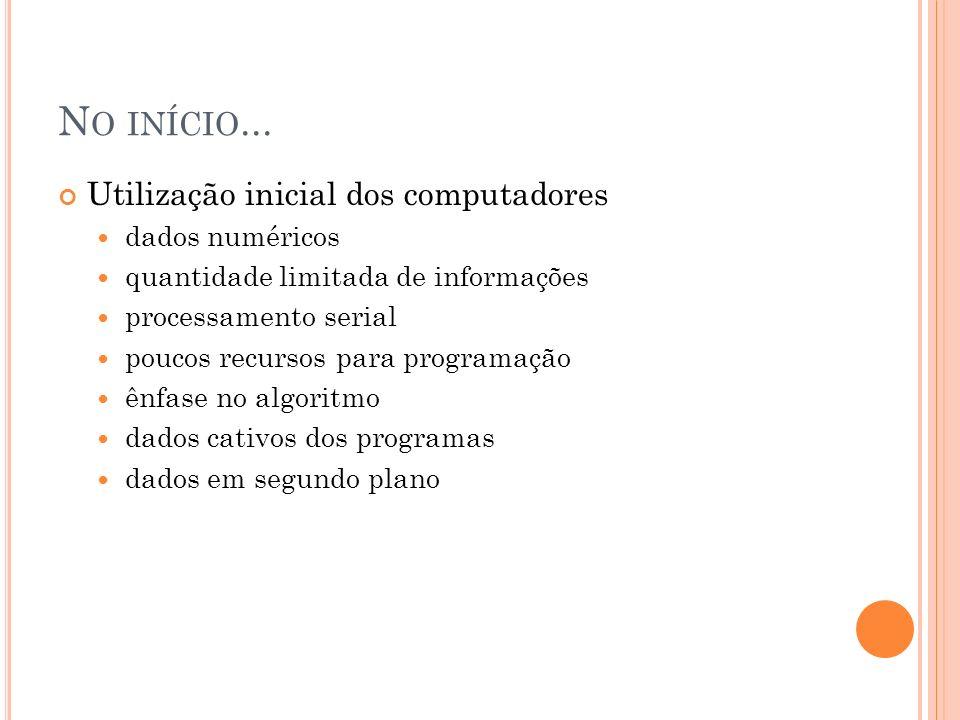 N O INÍCIO... Utilização inicial dos computadores dados numéricos quantidade limitada de informações processamento serial poucos recursos para program