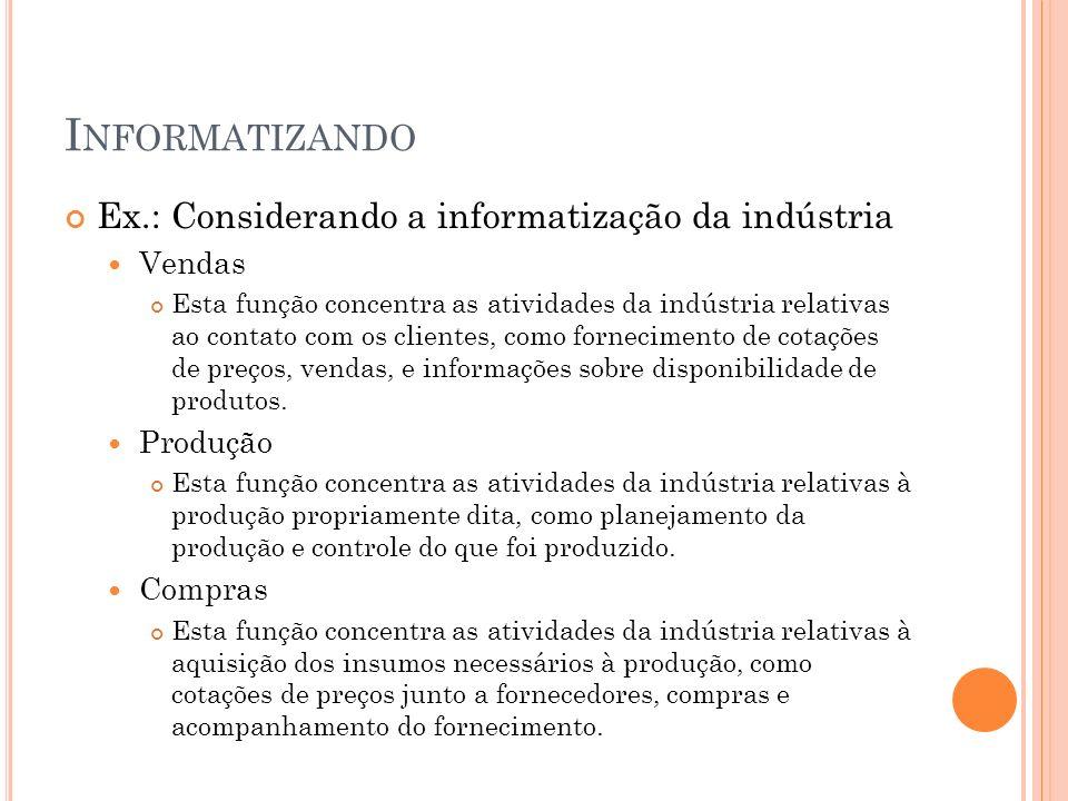 I NFORMATIZANDO Ex.: Considerando a informatização da indústria Vendas Esta função concentra as atividades da indústria relativas ao contato com os cl