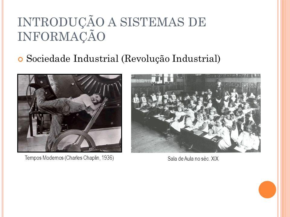 INTRODUÇÃO A SISTEMAS DE INFORMAÇÃO Sociedade Industrial (Revolução Industrial) Tempos Modernos (Charles Chaplin, 1936) Sala de Aula no séc. XIX