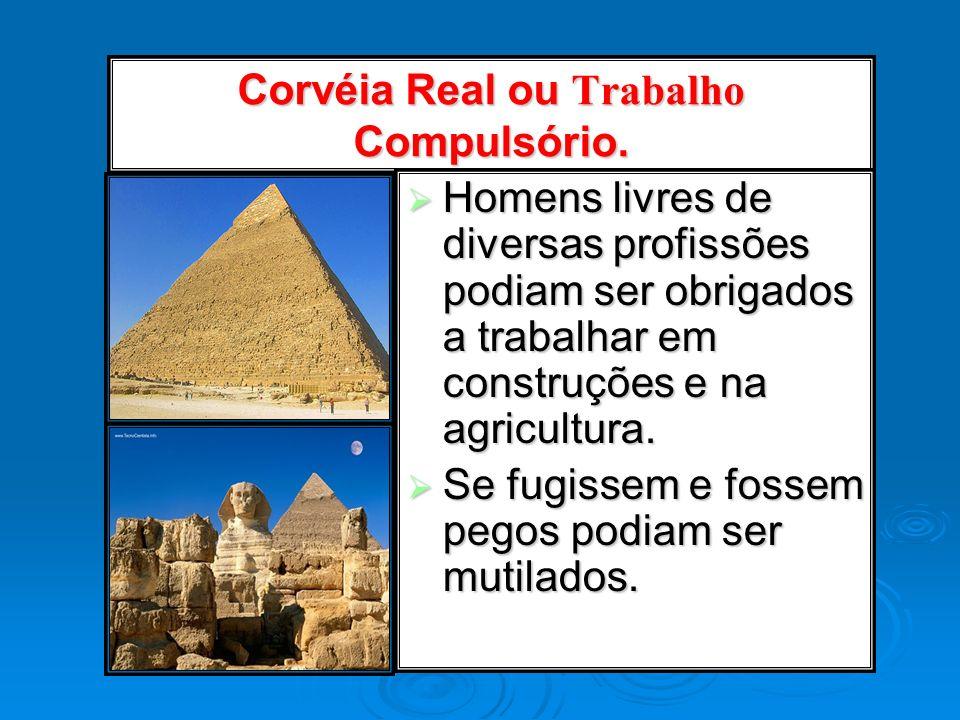 Corvéia Real ou Trabalho Compulsório. Homens livres de diversas profissões podiam ser obrigados a trabalhar em construções e na agricultura. Homens li