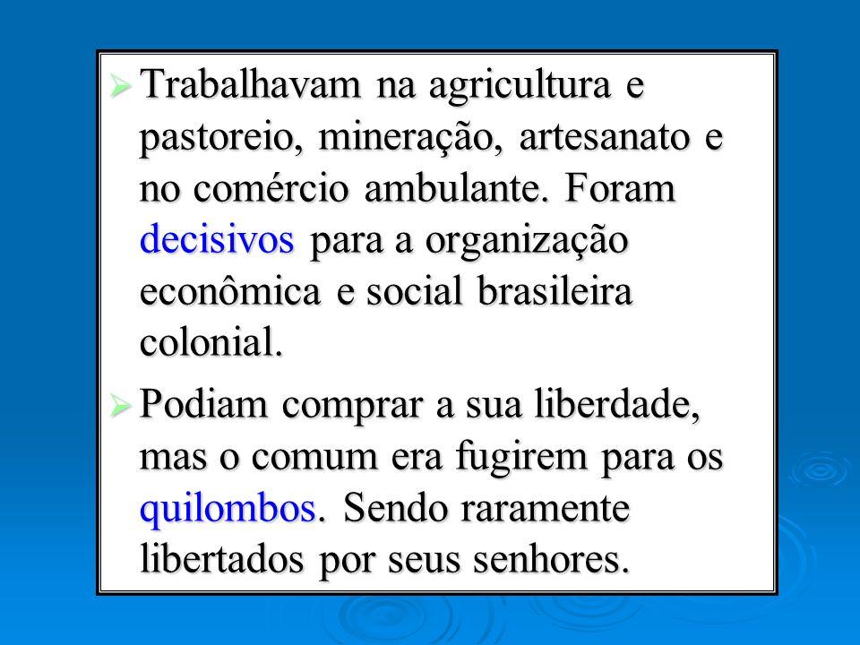 Trabalhavam na agricultura e pastoreio, mineração, artesanato e no comércio ambulante. Foram decisivos para a organização econômica e social brasileir
