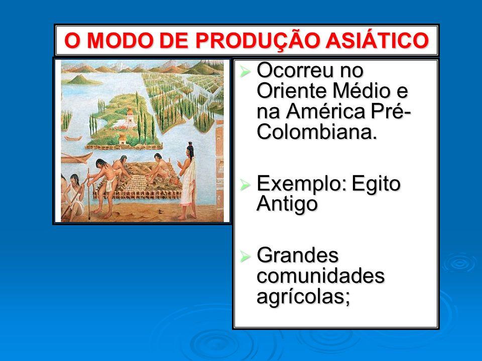 O MODO DE PRODUÇÃO ASIÁTICO Ocorreu no Oriente Médio e na América Pré- Colombiana. Ocorreu no Oriente Médio e na América Pré- Colombiana. Exemplo: Egi